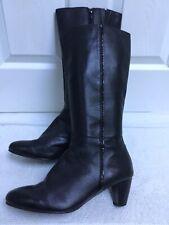 CELLINI 41/UK8 Black Fine Leather Mid Heel / Mid Calf Zip Up Boots V.G.C.