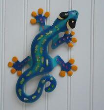 """Outdoor Haitian Metal 13"""" Sculptured Blue Gecko/Lizard Wall Hanging Art Decor"""