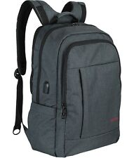 "17"" inch ULOGIC Laptop Backpack Gray Unisex Bag with USB Port & Anti Theft Dual"