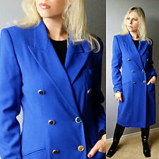 Vtg 80s MILITARY Double-Breasted ELECTRIFYING BLUE Trench Dress Coat Jacket