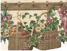 PEARS AND APPLES IN BASKETS, FLOWERS AND VINES HANGING ON PEGS Wallpaper bordeR