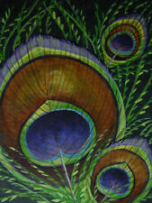 ACEO Peacock Exotic  bird feather print of painting