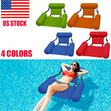 Inflatable Swimming Floating Chair Pool Seats Foldable Water Bed Lounge Chairs