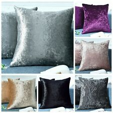 Twin Pack Crushed Velvet Fashion Plain Cushion Covers 8 Colours Pack of 2 Covers