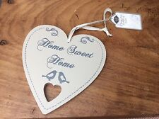 """NEW Wooden Wood Beige Brown Heart """"Home Sweet Home"""" Birds Home Wall Hanging Sign"""
