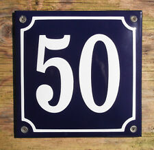 FRENCH ENAMEL HOUSE NUMBER SIGN. WHITE No.50 ON A BLUE BACKGROUND. 16x16cm.