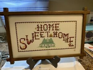 Vintage Home Sweet Home Cross Stitch Framed Picture Farmhouse Decor Wall Art