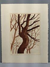 New listing Okamoto Japanese Etching Print Old Tree