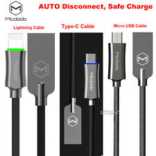 Mcdodo Smart Auto Disconnect Micro USB Lightning Type-C Data Charge Cable Lot AU