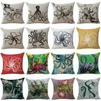 Octopus Pattern Home Decor Cotton Linen Pillow Case Sofa Throw Cushion Cover