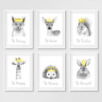 Animal with Crowns Nursery Prints Childrens Bedroom Wall Art Pictures Decor Grey