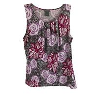 Ann Taylor Womens Size Medium Floral Printed Scoop Neck Tank Multicolor Stretch