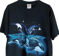 Men's LARGE Vintage 2000s Killer Whale Orca All Over By Habitat T-shirt Double