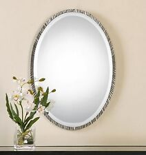 Classic Contemporary Silver Oval Wall Mirror | Vanity Textured