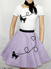 3PC LAVENDER 50's Poodle Skirt outfits Girl Sizes 4,5,6