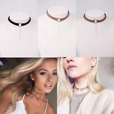 Velvet Stylish Round Pendant Choker Collar Necklace Chain Charm Jewel Brown+Gold