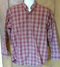 VTG Chaps Ralph Lauren Maroon Plaid Shirt 100% Cotton Crest M Medium  Free Ship!
