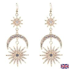 with Cubic Zirconia / Crystal Starburst and Moon Chandelier Cocktail Earrings