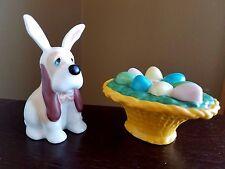 EASTER:  Salt & Pepper Shakers DOG w/ BUNNY EARS & BASKET OF EGGS Last 1!  New!