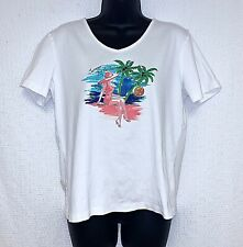 Nicole Miller Women's Large Short Sleeve T-Shirt Summer by the Sea Embellished