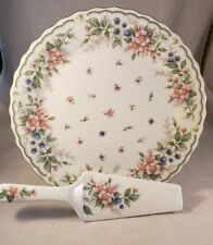 Pink and Blue pattern Cake Plate & Server Set  by Andrea by Sedak  Mint  no box