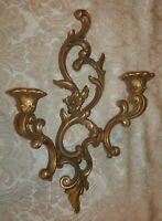 SYROCO Gold Wall Sconce Double Candle Holder 3930 Hollywood Regency 1959