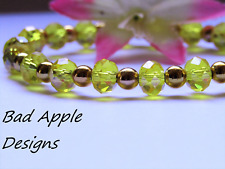 Sparkling Yellow Citrine Crystal Beaded Gold Stretch Bracelet USA HANDMADE