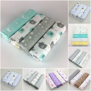 4 Pcs Cotton Flannel Receiving Baby Blanket Colorful Supersoft 76x76cm Blanket