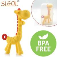 Giraffe Baby Teether Toy Silicone Natural Organic Teething Pacifier Chew Rings