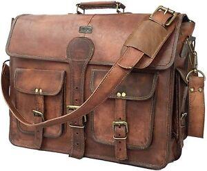 Vintage Handmade Leather Travel Messenger Office Crossbody Bag Laptop Briefcase