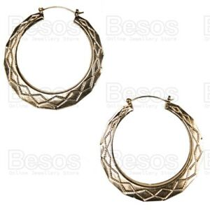 GOLD FASHION STATEMENT HOOPS vintage style 60mm OVERSIZE CREOLES hoop EARRINGS