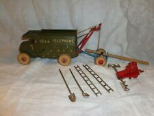 Vintage Hubley Cast Iron Bell Telephone Truck & Accessories, Toy