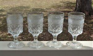 Lovely Vintage Anchor Hocking Stemmed Wine Glasses x 4 *Wexford Pattern
