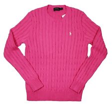 Polo Ralph Lauren Women's Pink Cable Knit Chunky Crew-Neck Sweater