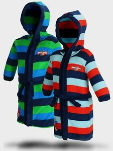 BOYS ANGRY BIRDS STRIPED HOODED SUPER SOFT DRESSING GOWN ROBE SIZE 5-12 YEARS