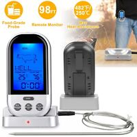 LCD Digital Meat Thermometer W/ 30m Remote Timer Alarm For BBQ Oven Grill Smoker