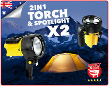 2x Rechargeable Torch and Spotlight Weatherproof Boating Fishing Emergency RT500