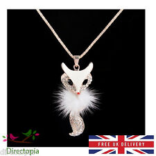 Unique Cute Large White Fox Animal Pendant Necklace with Crystals Kawaii Kitsch