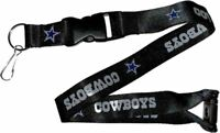 NFL Dallas Cowboys Black Breakaway Lanyard Keychain Licensed Aminco 22""