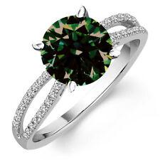 Diamond Engagement Ring 925 Sterling Silver 2+ Ct Round Dark Blue Moissanite