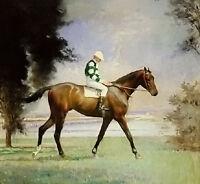 Oil painting Edmund Charles Tarbell - thoroughbred with jockey up horseman art