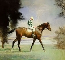 Oil painting Edmund Charles Tarbell - thoroughbred with jockey up horseman art