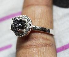 2.20 cts natural Black Raw Diamond Ring, Rough Diamond hammer ring 925 silver