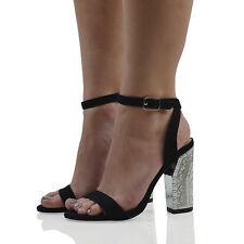 Womens Ankle Strap Chunky Heel Sandals Ladies Peeptoe Chrome Party Shoes Size UK 6 / EU 39 / US 8 Black Faux Suede Dj-3u4