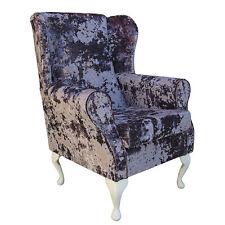 Metallic Lustro Lavender Crush Fabric Wing Back Orthopaedic Fireside Chair - NEW