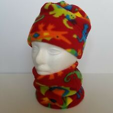 Turtle Fur Kids Beanie Cap and Gaitor Scarf Set Red Fleece Multicolored Animals