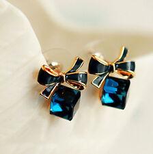 New Korean Blue Crystal Rhinestone Square Enamel Bowknot Ear Stud Earrings