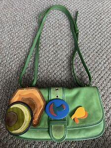 Miu Miu Green Suede Shoulder Bag