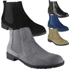 New Womens Ladies Low Heel Casual Work Plain Chelsea Ankle Boots Flat Shoes Size