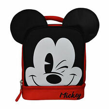 DISNEY MICKEY MOUSE INSULATED COOLER SCHOOL LUNCH BOX BAG TOTE RED BLACK